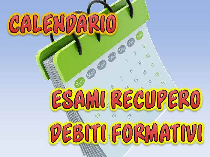 Calendario delle prove integrative per il recupero dei debiti formativi