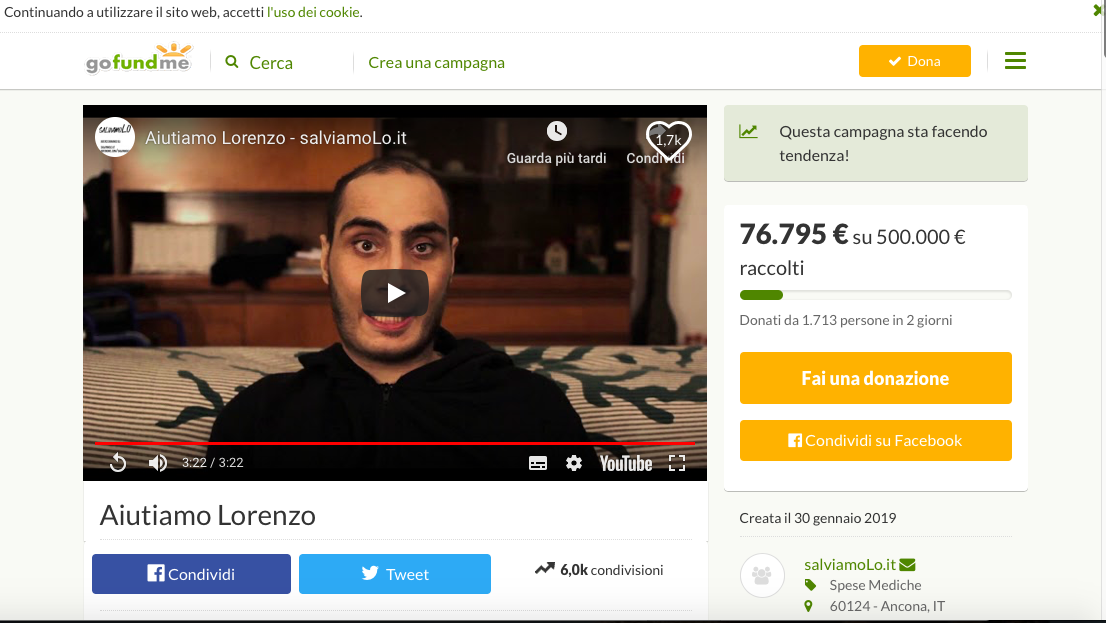 #SALVIAMOLO, L'ISTITUTO ADERISCE ALLA RACCOLTA FONDI PER LORENZO FARINELLI, EX STUDENTE DEL SAVOIA